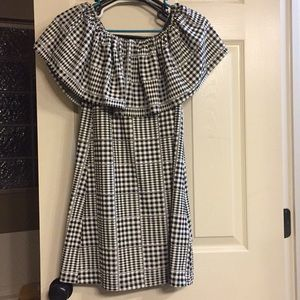 Urban outfitters plaid off shoulder ruffle dress
